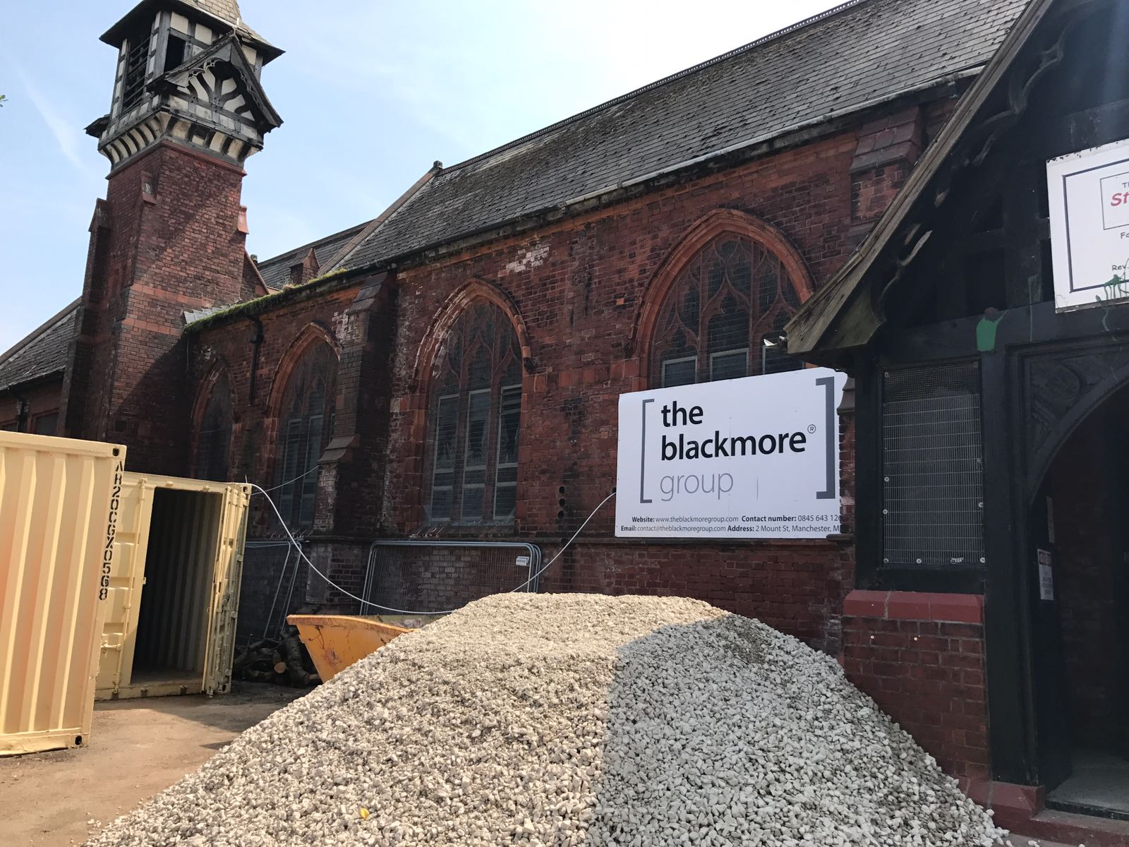Blackmore Group hoardings go up around the St Augustines Site in Cheadle